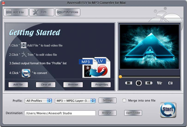 FLV to MP3 Converter for Mac screen