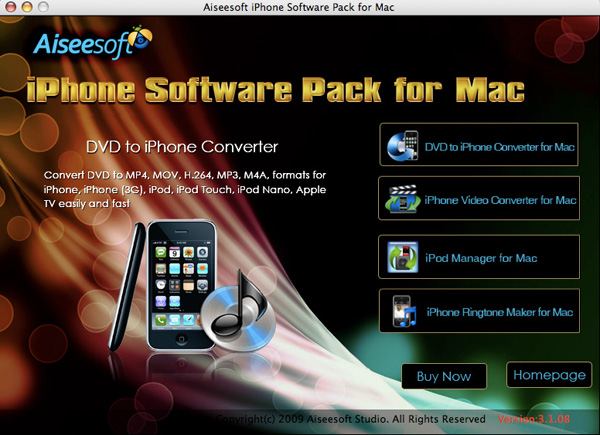 iPhone Software Pack for Mac screen