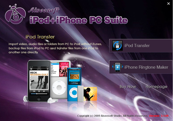 iPod + iPhone PC Suite screen