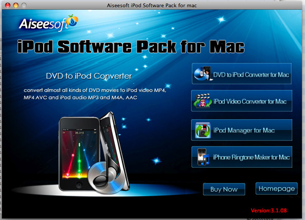 iPod Software Pack for Mac screen