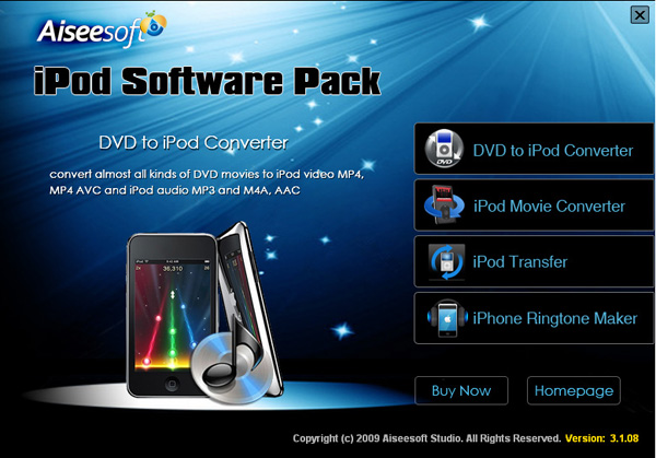 iPod Software Pack screen