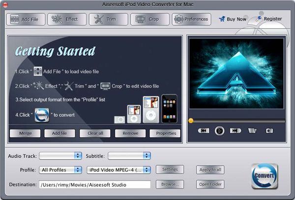 iPod Video Converter for Mac screen