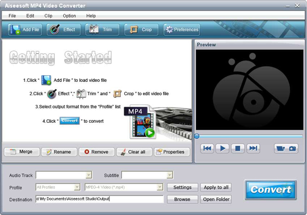 MP4 Video Converter screen